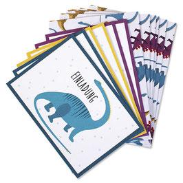 Einladungskarten Set Dinosaurier
