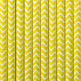 Papierstrohhalme gelbes Zickzackmuster