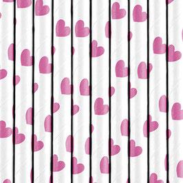 Papierstrohhalme Pink Herzchen
