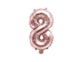"Folienballon Zahl ""8"" roségold"