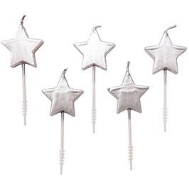 Geburtstagskerzen Stern Silber