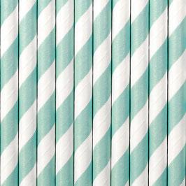 Papierstrohhalme Aqua Streifen