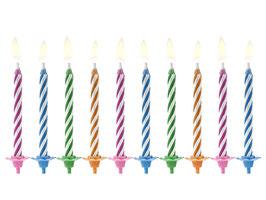 Geburtstagskerzen bunte Streifen
