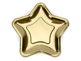 Teller Stern Gold groß
