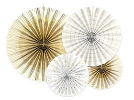 Rosetten Set Weiß-Gold