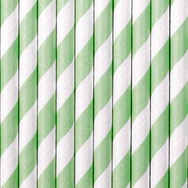 Papierstrohhalme Mint Streifen