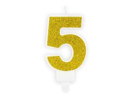 """Geburtstagskerzen Zahl """"5"""" Gold"""