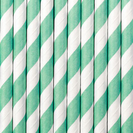 Papierstrohhalme Türkis Streifen