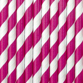 Papierstrohhalme Pink Streifen