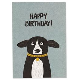 """Postkarte Hund """"Happy Birthday"""""""