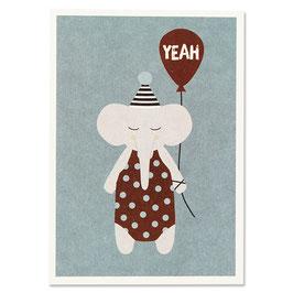 """Postkarte Elefant mit Hütchen """"Yeah"""""""