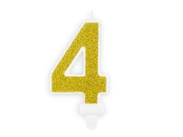 """Geburtstagskerzen Zahl """"4"""" Gold"""