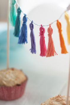 Cake Topper Rainbow Tasselgirlande