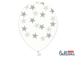 10 Luftballons 30 cm Transparent Stars