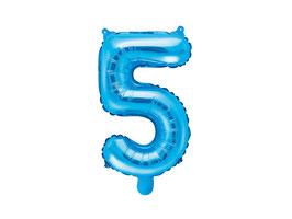 "Folienballon Zahl ""5"" blau"