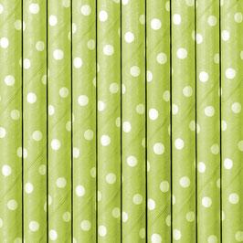 Papierstrohhalme Hellgrün Punkte