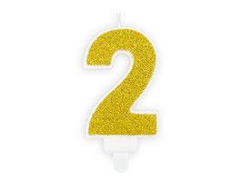 """Geburtstagskerzen Zahl """"2"""" Gold"""