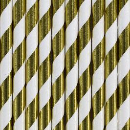Papierstrohhalme goldene Streifen