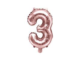 "Folienballon Zahl ""3"" roségold"