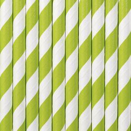 Papierstrohhalme Hellgrün Streifen