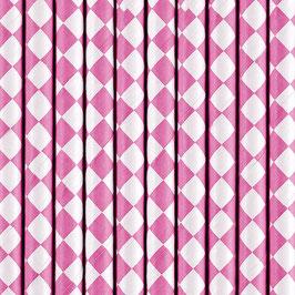 Papierstrohhalme Pink Raute