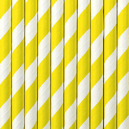 Papierstrohhalme gelbe Streifen
