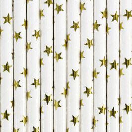Papierstrohhalme goldene Sternchen