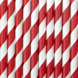 Papierstrohhalme Rot Streifen