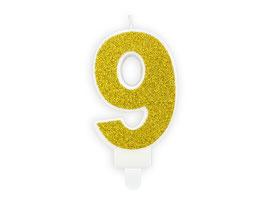 """Geburtstagskerzen Zahl """"9"""" Gold"""