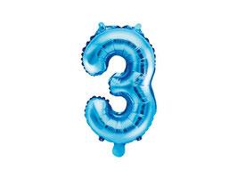 "Folienballon Zahl ""3"" blau"