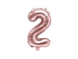 "Folienballon Zahl ""2"" roségold"