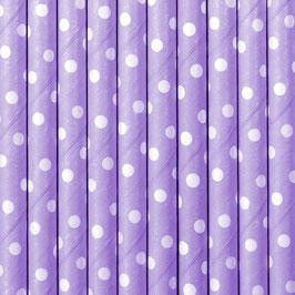 Papierstrohhalme Lila Punkte