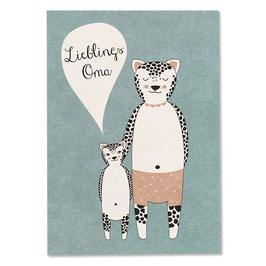 """Postkarte Jaguardame """"Lieblingsoma"""""""