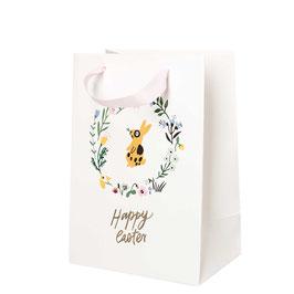 Geschenktüte Blumenkranz/ Hase weiß