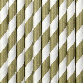 Papierstrohhalme Gold matt Streifen