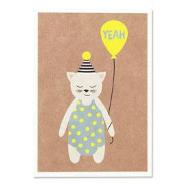 """Postkarte Katze mit Hütchen """"Yeah"""""""