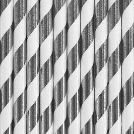 Papierstrohhalme Silber Streifen