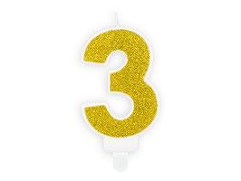 """Geburtstagskerzen Zahl """"3"""" Gold"""