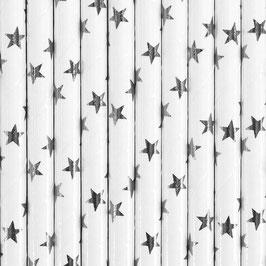 Papierstrohhalme silberne Sternchen