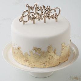 Cake Topper Merry Christmas Holz