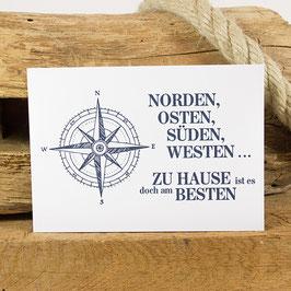 Postkarte NORDEN, OSTEN, SÜDEN, ...