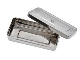 Aufbewahrungsbox mit Deckel klein - aus Edelstahl - ohne Bügel
