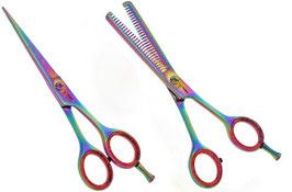 """Haarscheren - Friseurscheren Set- Effilierschere - Multicolor- 5,5 """" 2teilig"""
