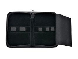 Reise-Etui aus schwarzem Kunstleder - universal Tasche mit Reißverschluss - 5 Laschen für Podologie Instrumente - Kosmetikstudio - Haarscheren und vieles mehr! - Verkauf Ohne Inhalt