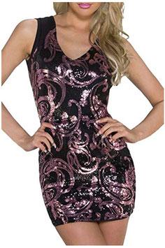 Mini jurk met roze lovertjes ZWART