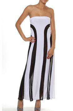 Witte strapless maxi-jurk