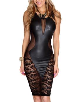 Zwart imitatie leren jurk met kant