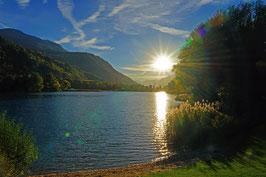 Sonnenuntergang am Baggersee, Domaine des Illes, Sion, Wallis, CH