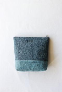 Two tone piñatex zipper pouch