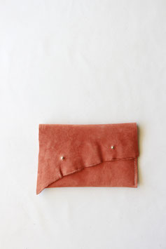 Raw edge wallet coral